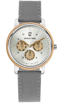 ORM 2031 Multifunktions Uhr mit Holzring aus Ahornholz und grauem Lyocell Band vegan von JACQUES FAREL hayfield und einem Durchmesser von 42 mm