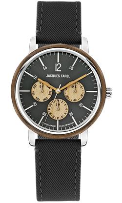 ORM 2032 Multifunktions Uhr mit Holzring aus Walnussholz und schwarzem Lyocell Band vegan von JACQUES FAREL hayfield und einem Durchmesser von 42 mm