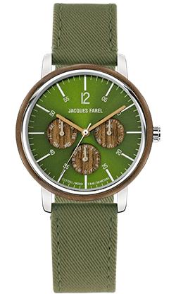 ORM 2033 Multifunktions Uhr mit Holzring aus Walnussholz und grünem Lyocell Band vegan von JACQUES FAREL hayfield und einem Durchmesser von 42 mm
