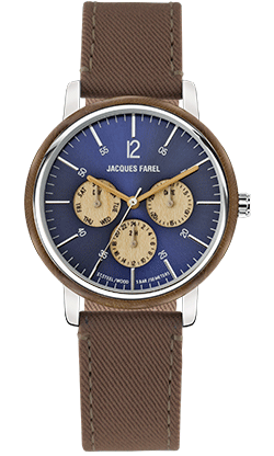 ORM 2035 Multifunktions Uhr mit Holzring aus Walnussholz und braunem Lyocell Band vegan von JACQUES FAREL hayfield und einem Durchmesser von 42 mm