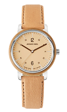 ORW 1001 Unisex Uhr mit Holzring aus Ahornholz und Oeko-Lederband von JACQUES FAREL hayfield und einem Durchmesser von 38 mm