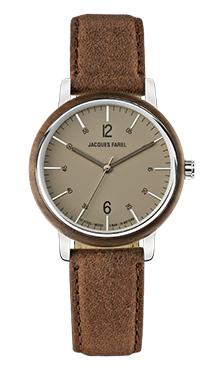ORW 1002 Unisex Uhr mit Holzring aus Walnussholz und Oeko-Lederband von JACQUES FAREL hayfield und einem Durchmesser von 38 mm
