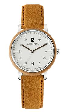 ORW 1003 Unisex Uhr mit Holzring aus Ahornholz und Oeko-Lederband von JACQUES FAREL hayfield und einem Durchmesser von 38 mm