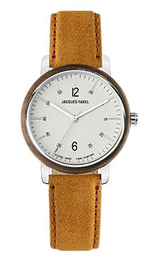 ORW 1004 Unisex Uhr mit Holzring aus Walnussholz und Oeko-Lederband von JACQUES FAREL hayfield und einem Durchmesser von 38 mm