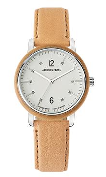 ORW 1005 Unisex Uhr mit Holzring aus Ahornholz und Oeko-Lederband von JACQUES FAREL hayfield und einem Durchmesser von 38 mm