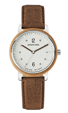 ORW 1006 Unisex Uhr mit Holzring aus Ahornholz und Oeko-Lederband von JACQUES FAREL hayfield und einem Durchmesser von 38 mm
