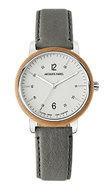 ORW 1008 Unisex-Uhr mit Holzring aus Ahornholz und grauem Oeko-Lederband von JACQUES FAREL hayfield und einem Durchmesser von 38 mm