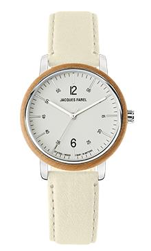 ORW 1009 Unisex-Uhr mit Holzring aus Ahornholz und belugaweissem Oeko-Lederband von JACQUES FAREL hayfield und einem Durchmesser von 38 mm