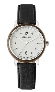 ORW 1010 Unisex-Uhr mit Holzring aus Walnussholz und schwarzem Oeko-Lederband von JACQUES FAREL hayfield und einem Durchmesser von 38 mm