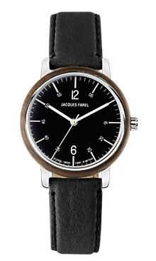 ORW 1011 Unisex-Uhr mit Holzring aus Walnussholz und schwarzem Oeko-Lederband von JACQUES FAREL hayfield und einem Durchmesser von 38 mm