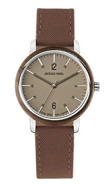 ORW 1032 Unisex Uhr mit Holzring aus Walnussholz und braunem Lyocell Band vegan von JACQUES FAREL hayfield und einem Durchmesser von 38 mm