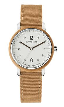 ORW 1033 Unisex Uhr mit Holzring aus Ahornholz und haselnussbraunem Lyocell Band vegan von JACQUES FAREL hayfield und einem Durchmesser von 38 mm