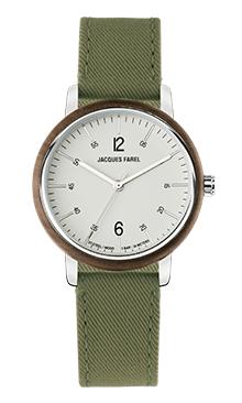 ORW 1037 Unisex Uhr mit Holzring aus Walnussholz und waldgrünem Lyocell Band vegan von JACQUES FAREL hayfield und einem Durchmesser von 38 mm