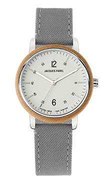 ORW 1038 Unisex Uhr mit Holzring aus Ahornholz und steingrauem Lyocell Band vegan von JACQUES FAREL hayfield und einem Durchmesser von 38 mm
