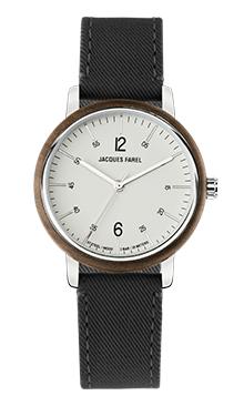 ORW 1040 Unisex Uhr mit Holzring aus Walnussholz und schwarzem Lyocell Band vegan von JACQUES FAREL hayfield und einem Durchmesser von 38 mm