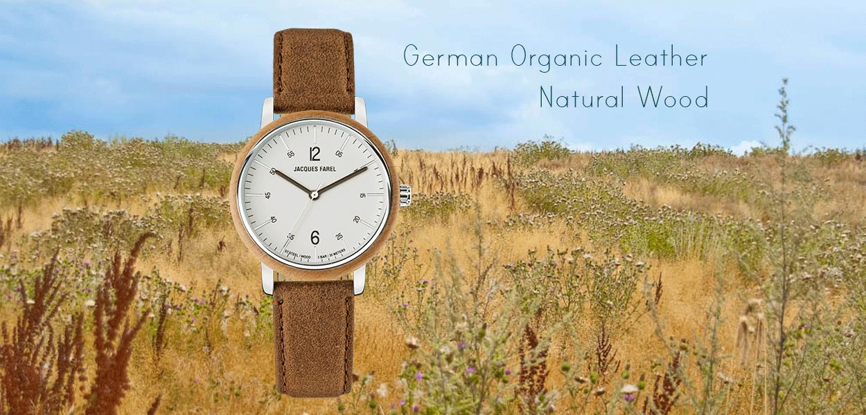 Feld mit Graesern im Herbst und Feldblumen - ORW 1006 Unisex-Uhr mit terrabraunem Oeko-Lederband und Holzring aus Ahornholz