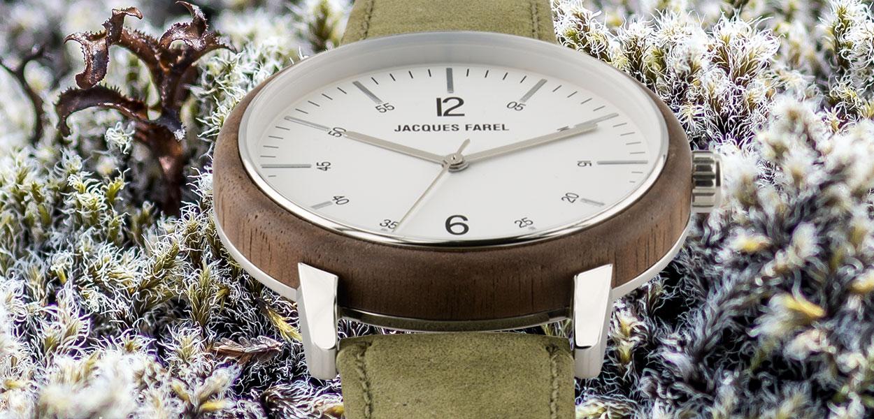 Natur mit Moos und ORW 1007 Unisex Uhr mit Holzring aus Walnussholz und Oeko-Lederband von JACQUES FAREL hayfield und einem Durchmesser von 38 mm